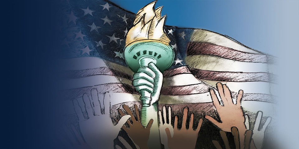 graphic showing raised hands and American flag