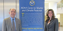 Dr. Holly Bamford joins National Weather Service Assistant Administrator Louis Uccellini at the National Centers for Environmental Prediction