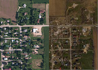 Images of aerial shots of a disaster zone before and after