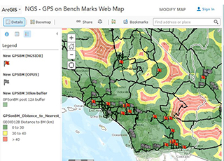 Screen capture of the ArcGIS web map