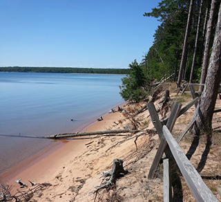 The Great Lakes are experiencing extreme water level variations over short periods of time.  This photo was taken from the Apostle Islands, Wisconsin.