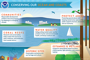 Conserving our Oceans and Coasts infographic.
