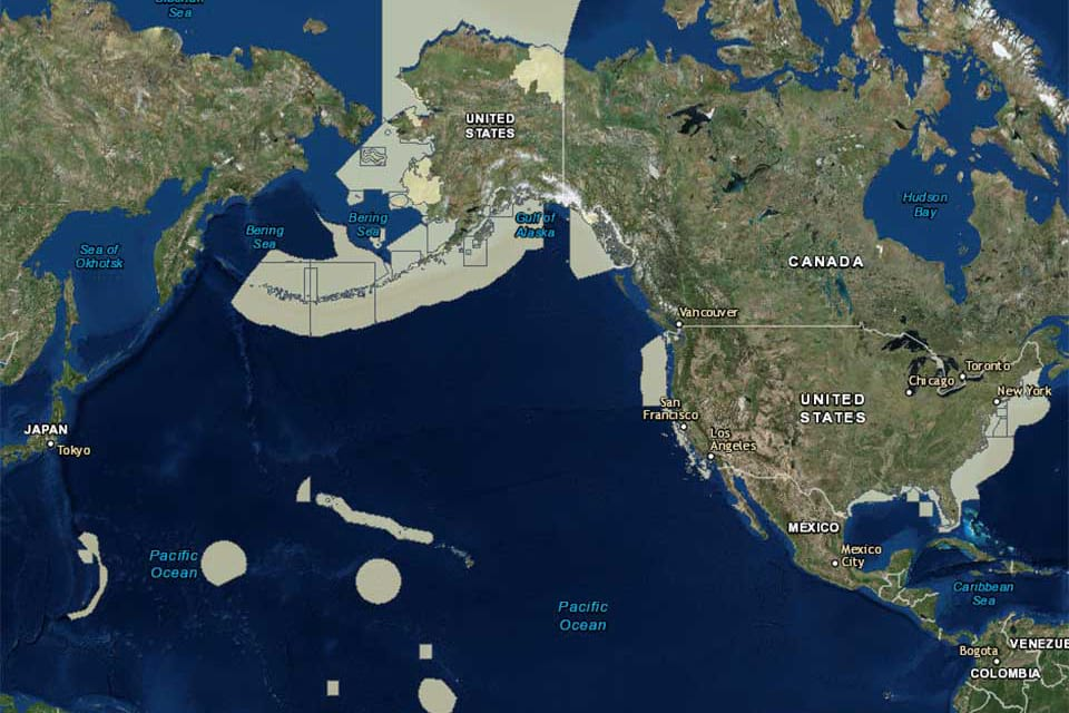 A map of marine protected areas around the United States