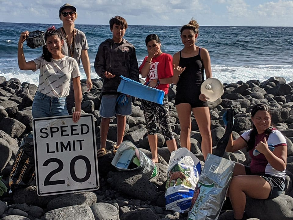 Field day cleanup at Waikaloa Beach, where 32 pounds of marine debris was removed.