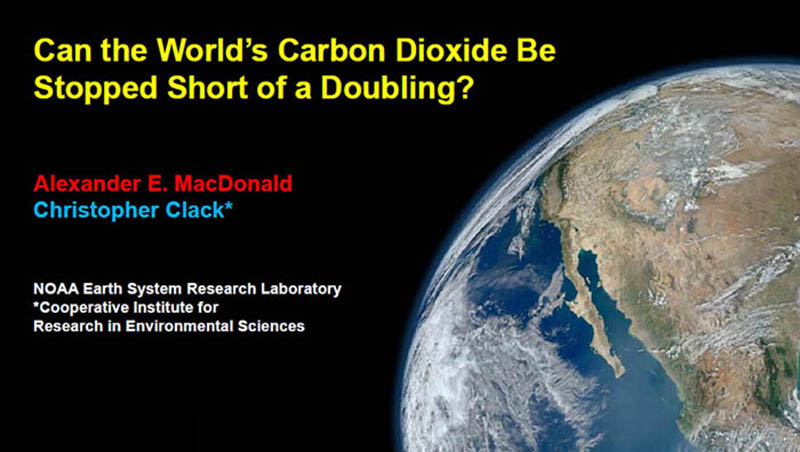 Can the World's Carbon Dioxide O2 Be Stopped Short of Doubling first slide