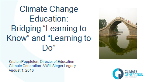 Climate Change Education: Bridging learning to know and learning to do