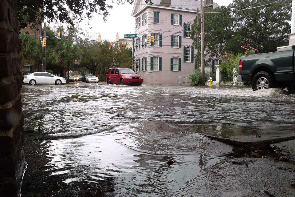 high tide flooding in the streets of Charleston