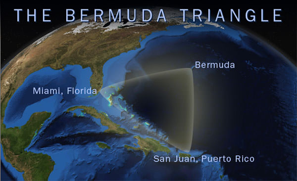 map showing the location of the Bermuda Triangle