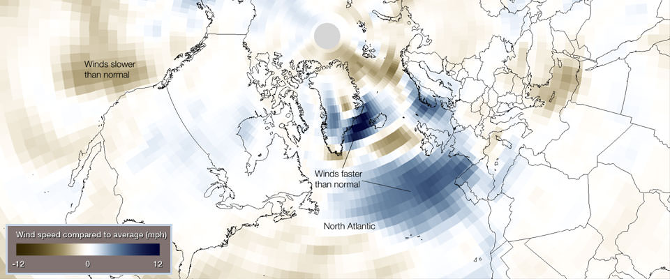 Fourteen of 20 hurricane-force wind events underwent bombogenesis in the North Atlantic during the first two months of 2014. This unusual activity can be seen in wind speed data from the period. In this image, blues indicate areas with wind speeds that are faster than the 30-year historical average (1981-2010).