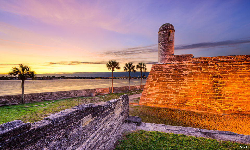 The Castillo de San Marcos National Monument in St. Augustine, Florida, stands sentinel over Matanzas Bay. The coquina structure remains sturdy after three centuries. (Photo credit: iStock Getty Images)
