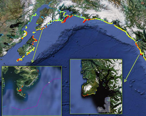 This map shows debris concentrations from an aerial survey done in Alaska in 2012. The map points to two known catcher areas, along Kruzof Island and Gore Point.