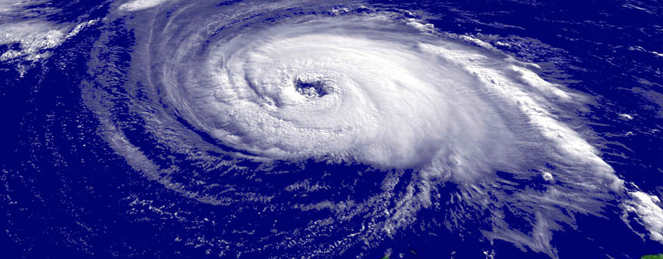 A close-up satellite image of Hurricane Isabel taken on Sept. 15, 2003.