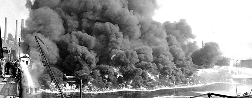 Cuyahoga River Fire Nov. 3, 1952. Courtesy of Cleveland Press Collection at Cleveland State University Library