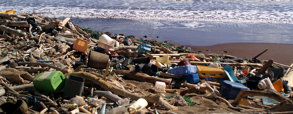 marine debris on beach at Kaho'olawe in Hawaii