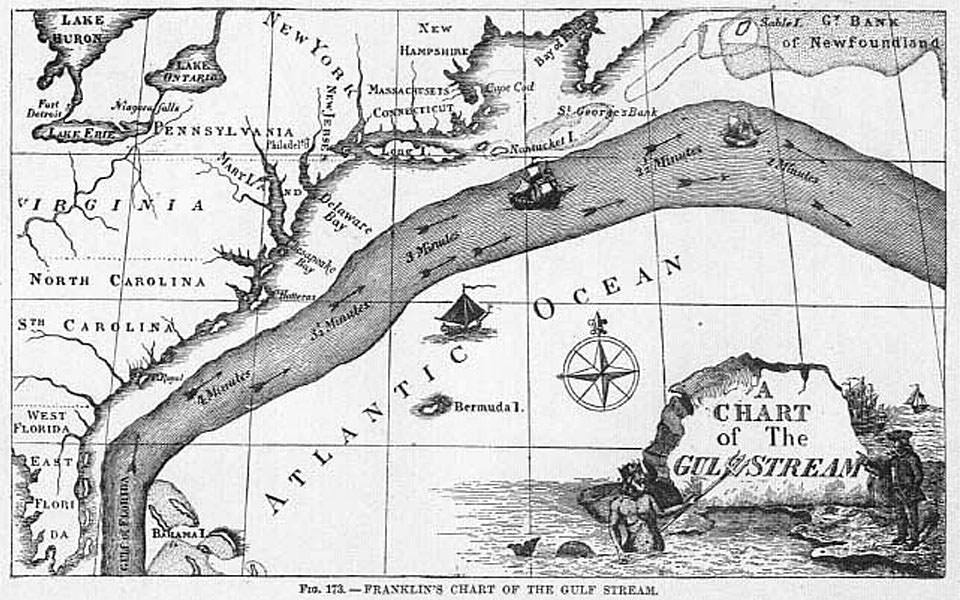 Who first charted the Gulf Stream