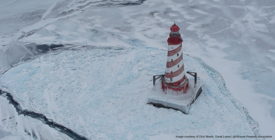 White Shoal Lighthouse in northern Lake Michigan. (Courtesy Dick Moehl, Great Lakes Lighthouse Keepers Association)