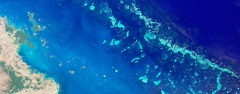 Satellite photograph of the Great Barrier Reef situated off the northerastern coast of Australia.