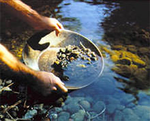 panning gold; image courtesy of the U.S. Department of Agriculture