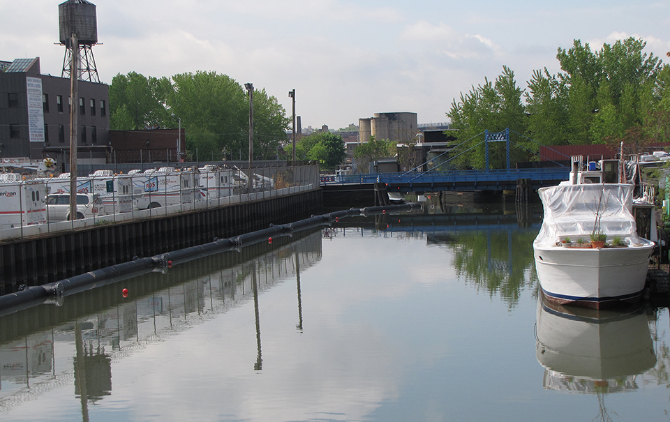 The Gowanus canal at Carroll Street where some of the highest sediment contamination is found