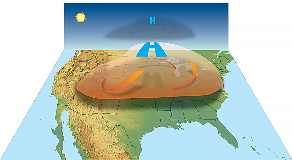 A graphic that shows a heat dome cycling above United States
