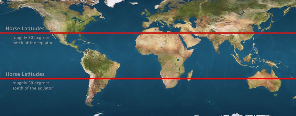 horse latitudes shown on map