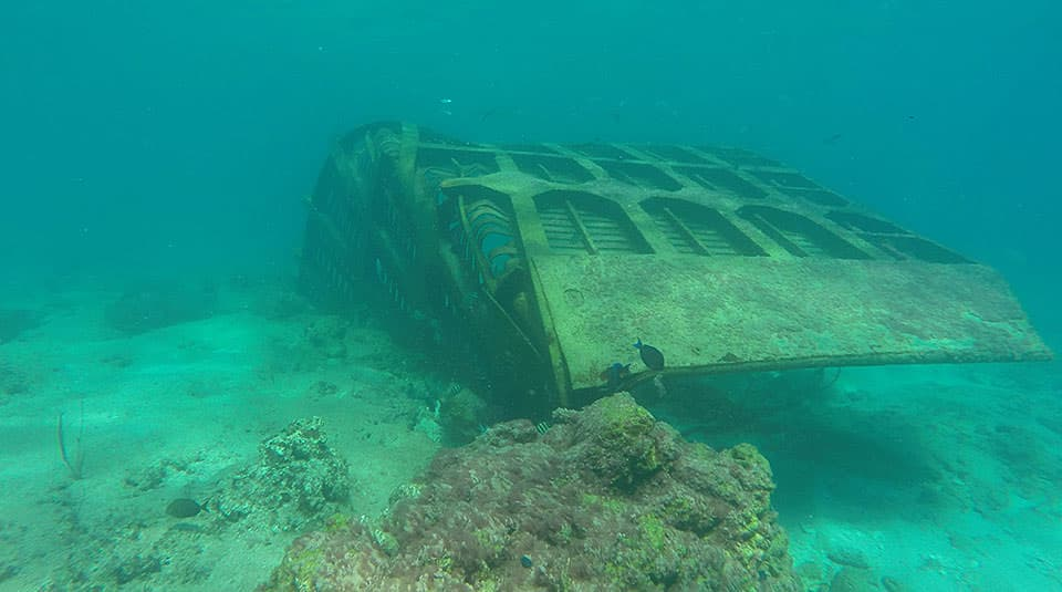 A sunken vessel in Vieques, Puerto Rico