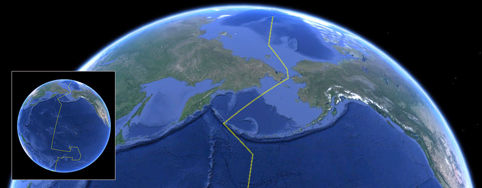 Google Earth view of globe showing International Date Line