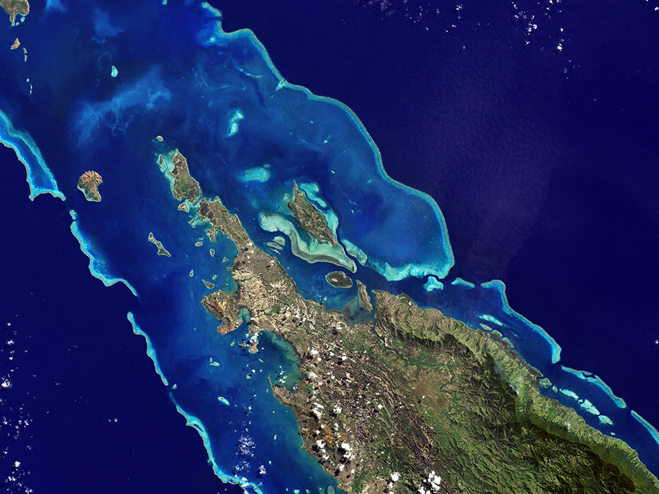 NASA satellite image shows the lagoons and reefs of New Caledonia. This French-governed archipelago contains the world's third-largest coral reef structure.