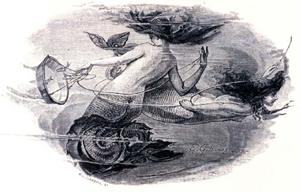19th century artist rendering of mermaids in the ocean
