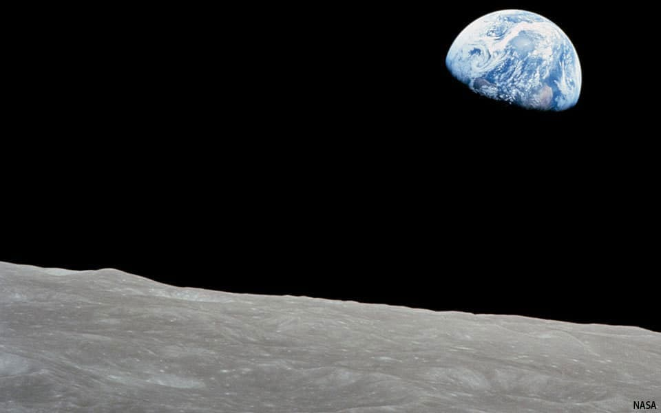 Earth viewed from the surface of the moon