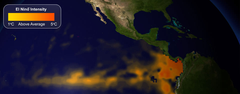 El Nino shown on a map