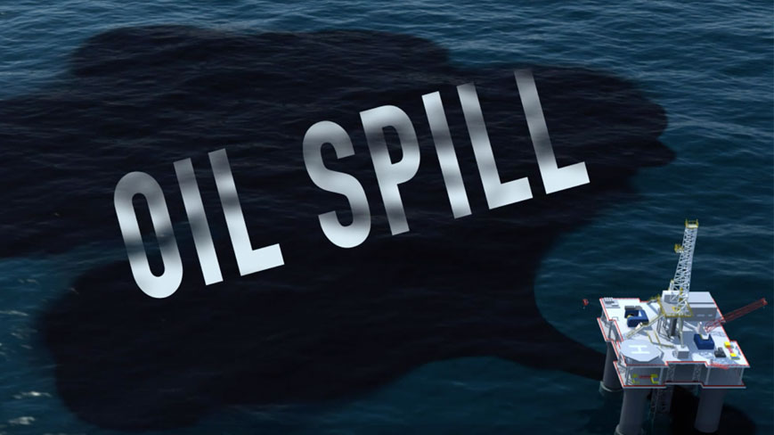 graphic of oil platform with spill; text says 'oil spill'