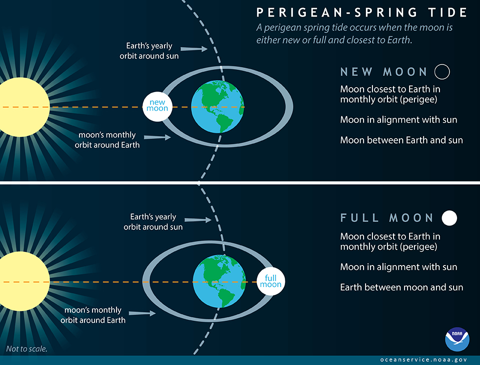 Perigean Spring Tide infographic.