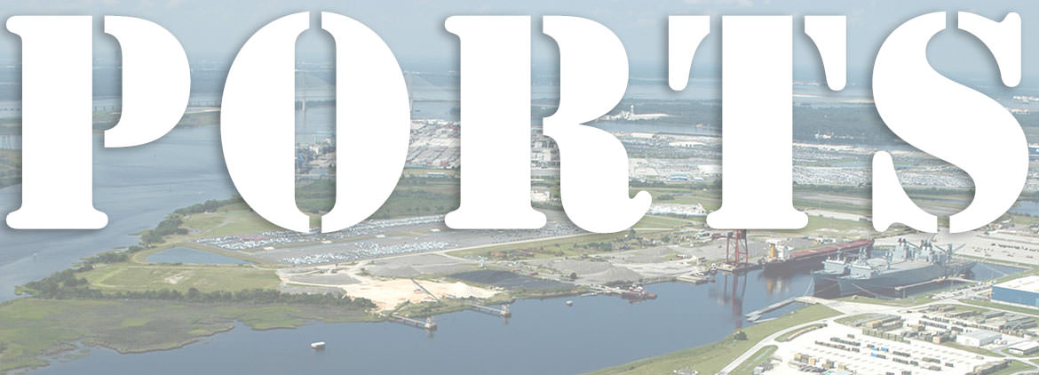 Jacksonville port with the words 'PORTS' in foreground