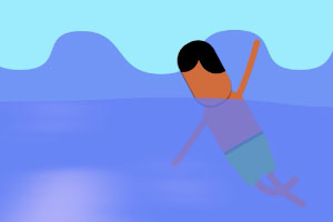 Graphic showing animated person in ocean rip current