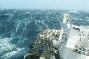 research vessel in Southern Ocean in heavy seas.