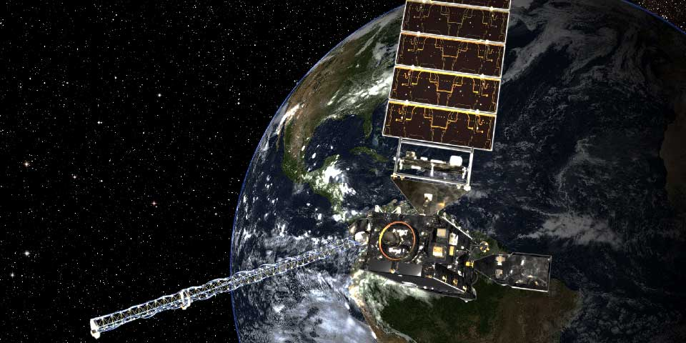 an artist's rendering of GOES-R in space
