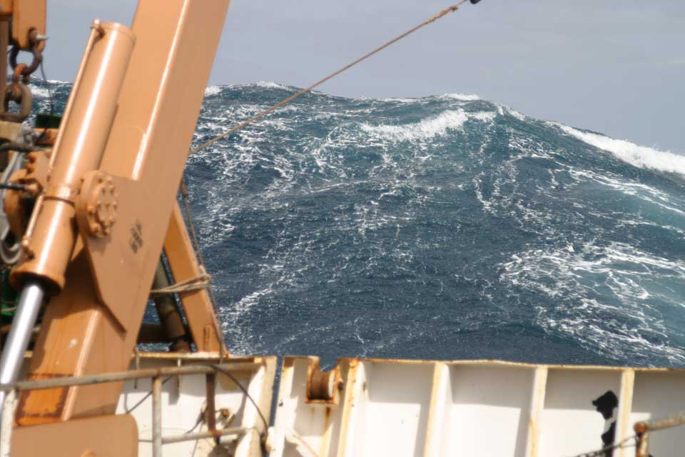 a NOAA vessel in choppy seas in the Atlantic