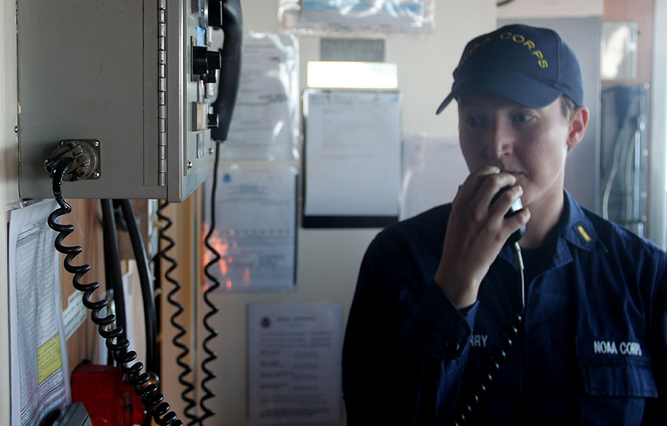 NOAA Corps Ensign Diane Perry on the NOAA Ship Thomas Jefferson