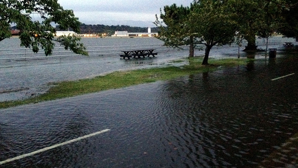 Coastal flooding as seen at Hains Point, Washington D.C. on September 26,2015.