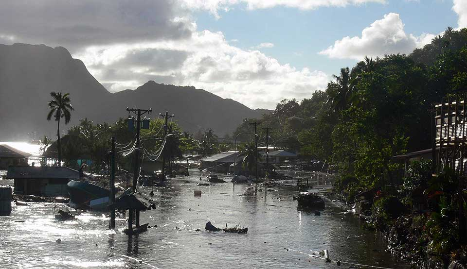 damage from tsunami in American Samoa