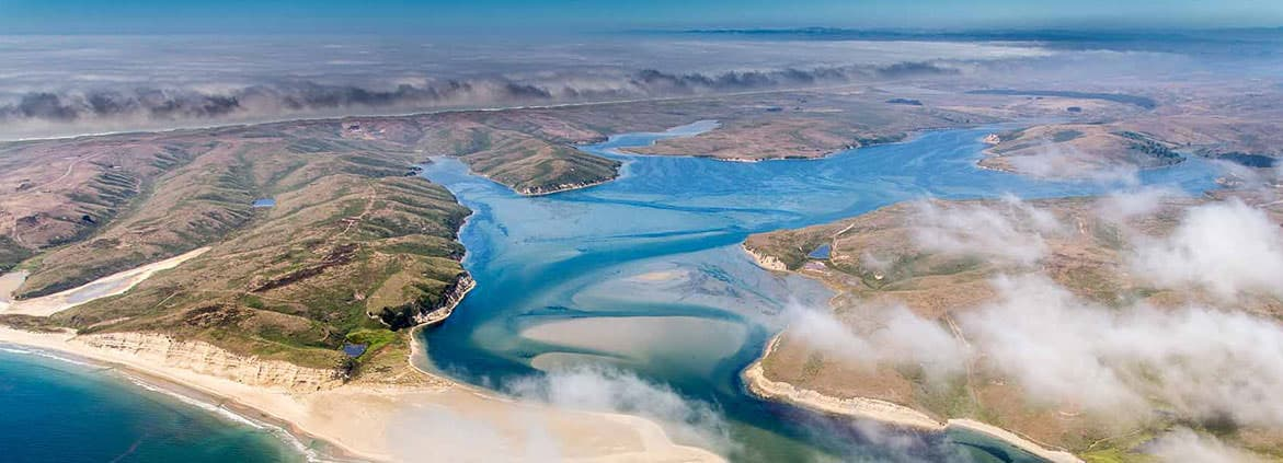 An aerial view of Drakes Bay, part of California's Tomales-Drake watershed. Credit: Brian Cluer, NOAA Fisheries West Coast Region, California Coastal Office.