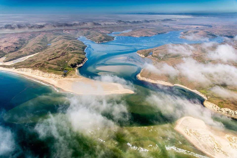 aerial view of Drake Bay California