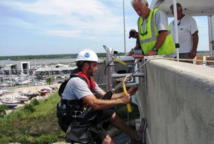 Staff from the Center for Operational Oceanographic Products and Services install a microwave radar water level sensor on the Dog River Bridge in Mobile County, Ala.