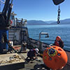 A NOAA field crew prepares a current meter mooring for deployment in Puget Sound, Washington.