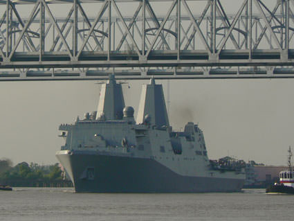 NOAA's Air Gap Technology Sends USS New York Down the Mississippi River