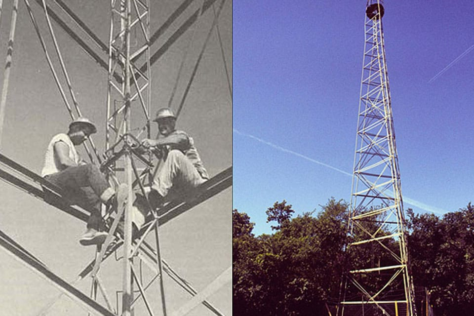 two images of bilby towers, one showing two peoplE sitting on one high up in the air