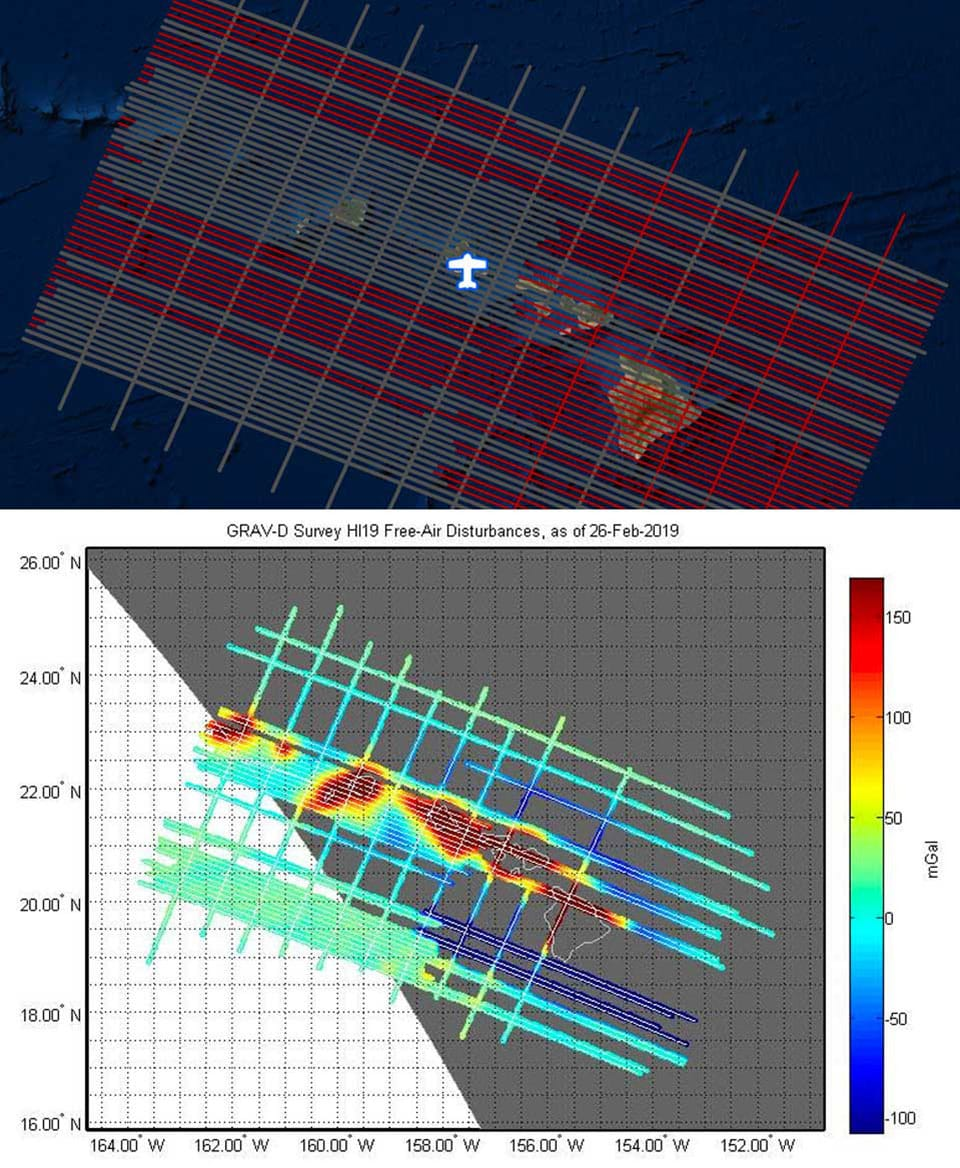 gravity measurements map over Hawaii