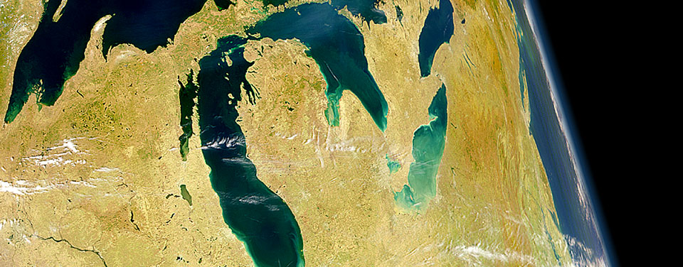 A NASA image of the Great Lakes from space