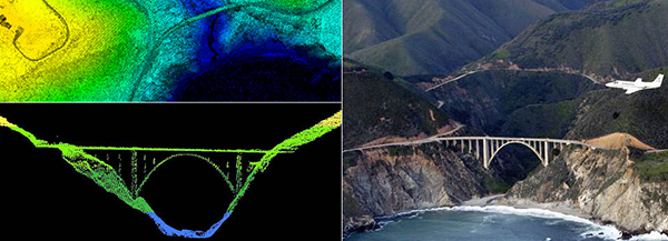 LIDAR data is often collected by air, such as with this NOAA survey aircraft (top) over Bixby Bridge in Big Sur, Calif. Here, LIDAR data reveals a top-down (bottom left) and profile view of Bixby Bridge.